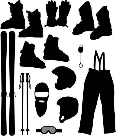 스키: a set of skis - Vector illustration 일러스트