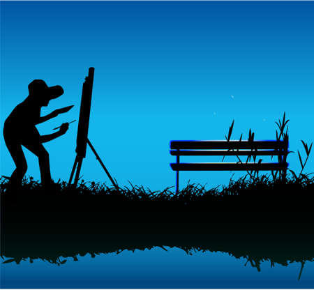 painting outdoors Vector