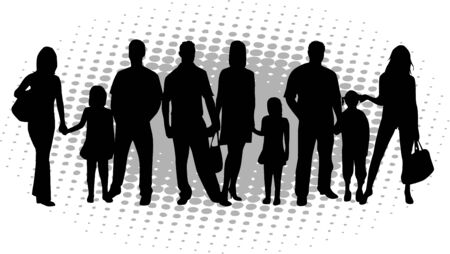 vector family silhouette Vettoriali