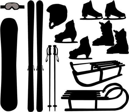 snow sled: winter sports - vector icons