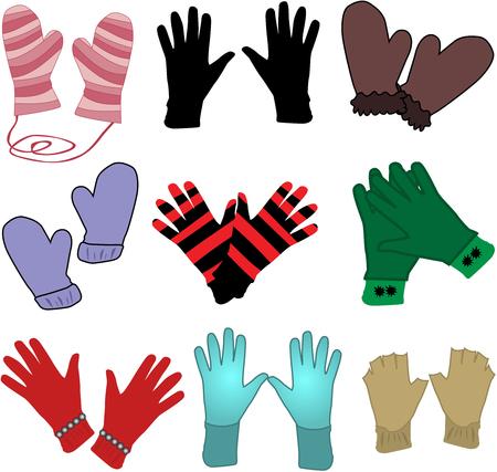 leather glove: gloves - ilustracaja Vector Illustration