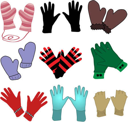 gloves - ilustracaja Vector Çizim