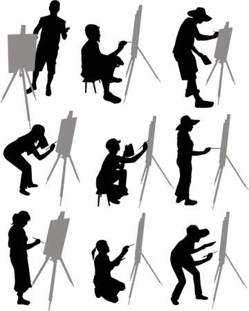 artist paints at easel Ilustrace