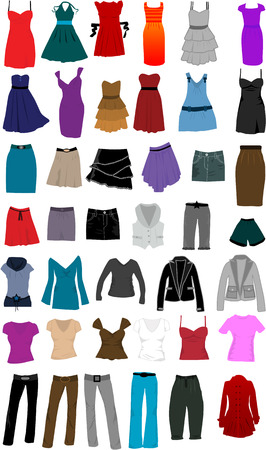large collection of clothes for women