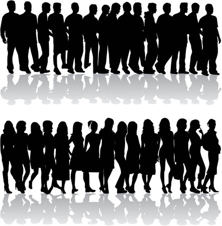 fila de espera: Grupo de personas - hombres y mujeres