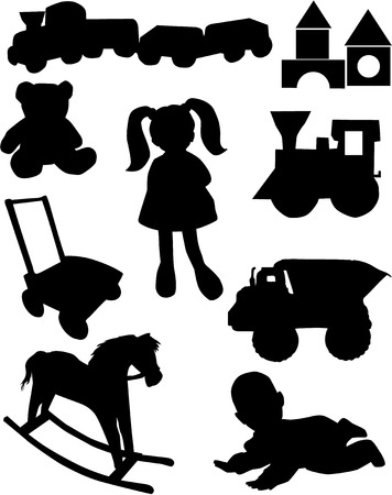 rocking: toys silhouette vector  Illustration