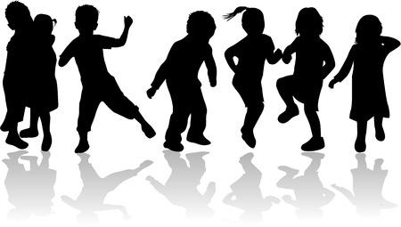 Childrens , kids - black silhouettes, vector work