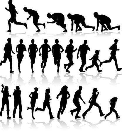 personas trotando: Siluetas de correr - negro Vectores