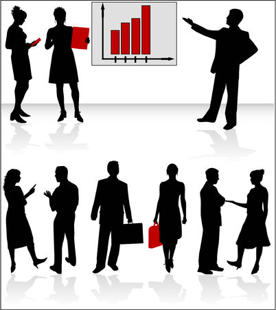 siluetas de mujeres: Gr�fico y gente de negocios