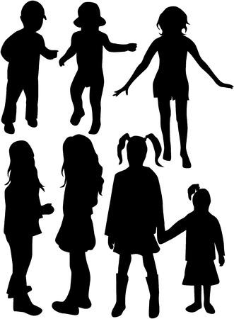 Enfants - silhouette Banque d'images - 8741586