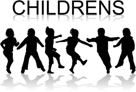 Childrens - black silhouettes, vector work Vector