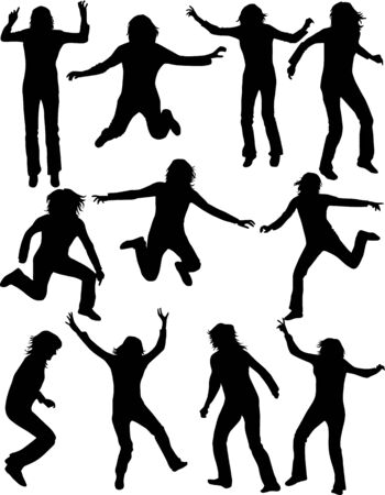Jumping people, (silhouette women), vector work Illustration