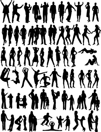 crouching: Silhouette of people  Illustration