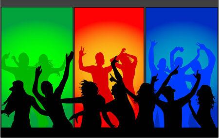 danseres silhouet: grote menigte van mensen dansen Stock Illustratie