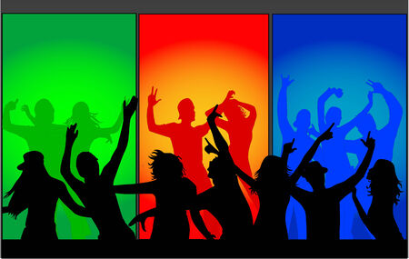silueta masculina: multitud de baile personas