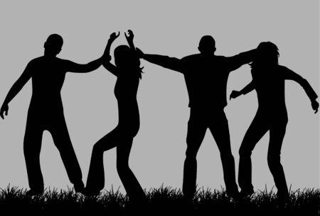 People silhouette, vectors work Vector