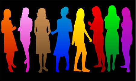 teenagers group: Fashion  Women color* Illustration