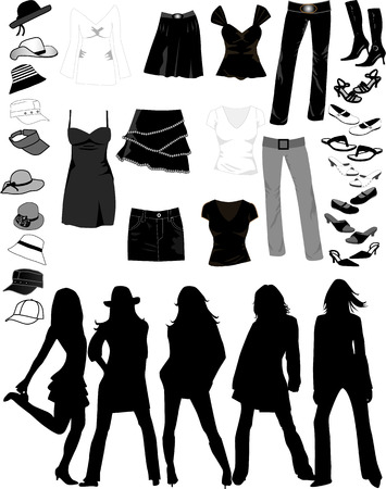 designer clothes: Women Things , vectors work