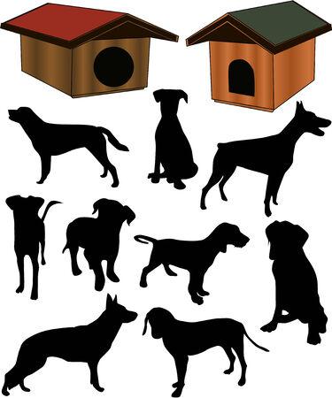 Dogs collection silhouette - vector Illusztráció