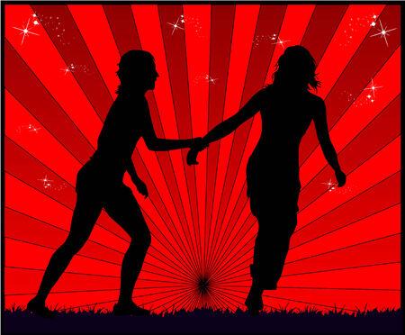 Running girls - red background Illustration