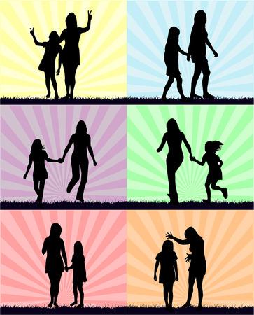 母と娘 - 楽しい  イラスト・ベクター素材