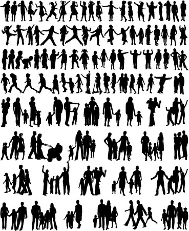 silhouettes of children: Collection Of Family Silhouettes Illustration