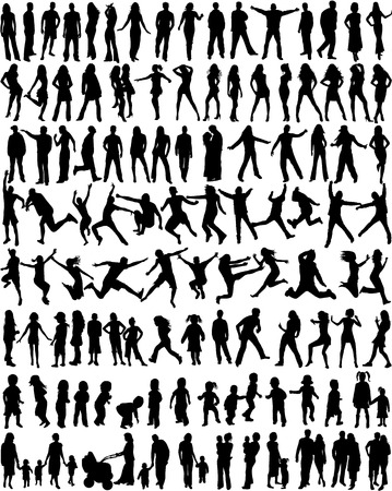happy kids jumping: Subject People Silhouettes - Big Collection