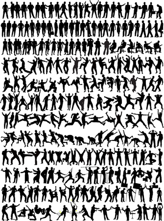 businessman jumping: Man Collection - 245 silhouette Illustration