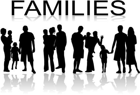 Families - zwarte mensen silhouet, vectoren werken