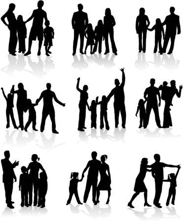 lifestyle family: Familias siluetas - trabajo vectorial