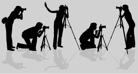 Photographers shooting model Vector