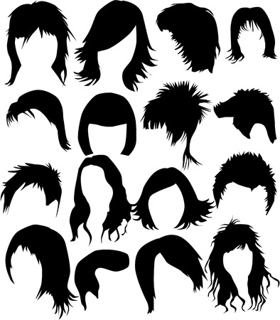 black wigs: Hair - dress 2  (women and man), vector work Illustration