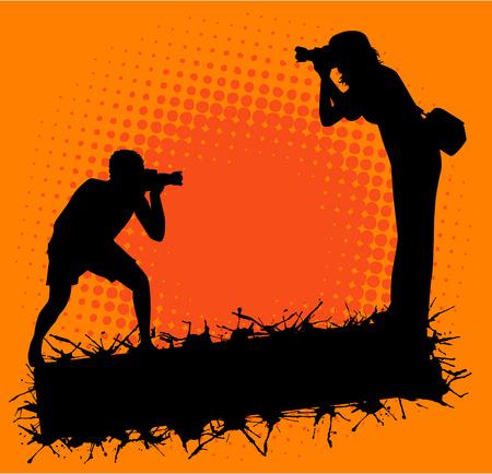 Photographer in action Vettoriali