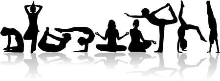Yoga poses collection - vector Vector