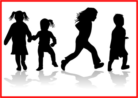 Children   -  silhouette Stock Vector - 8741715