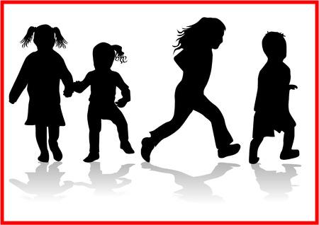 kind silhouet: Kinderen - silhouet Stock Illustratie