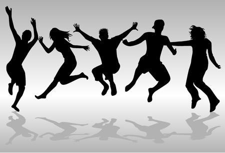 Jumping Mensen Stock Illustratie
