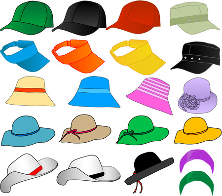 man with hat: Vector Hats Illustration