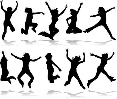 salto largo: Energetic girls Vectores