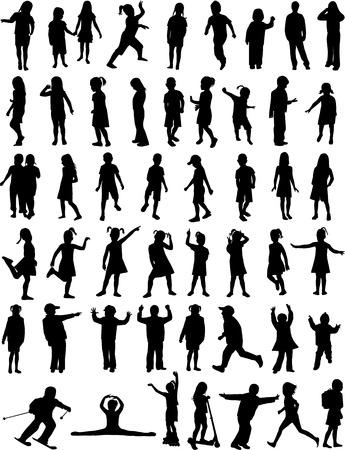 Silhouetten Chlilndrens Stock Illustratie