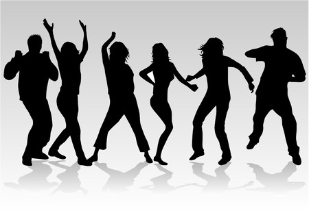 sexy woman disco: People dancing 2, Silhouettes of people dancing Illustration