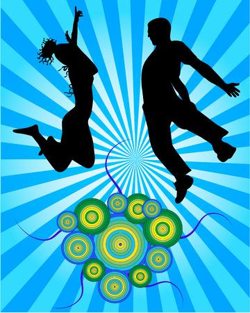 copule: Saltar copule - ilustraci�n  Vectores