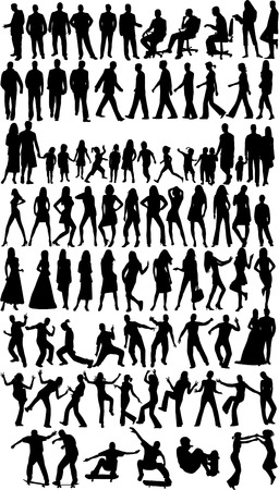 People  silhouettes, work with vectors Vector