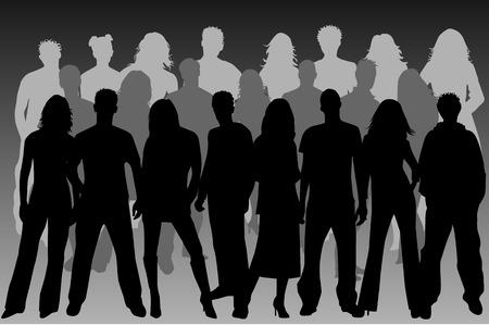 Group of People ( women , men ) Stock Vector - 8741736