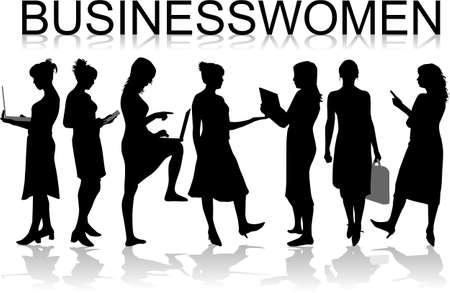 listeners: Businesswomen ,black silhouettes- vectors work