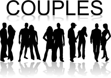 Couples- black silhouettes , vectors work Vector