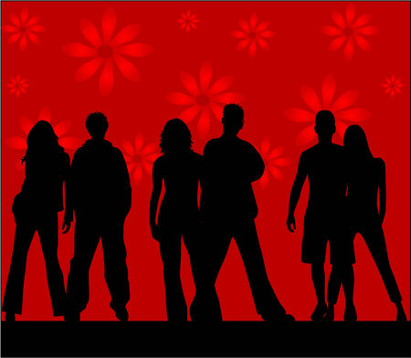 Friends  - silhouettes , red background Stock Vector - 8741800