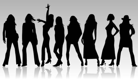hip hop silhouette: Beautiful girls - vector work Illustration