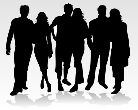 People Silhouette - couples, vector work Vector