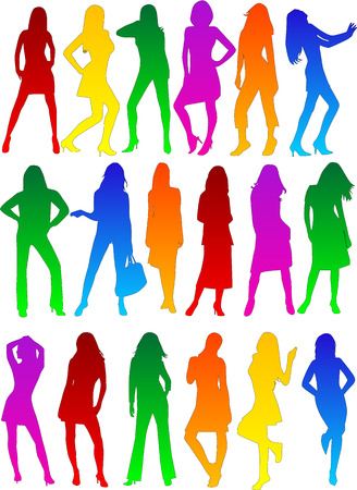Ladys profiles fashion show , vectors work Vector